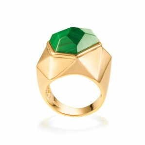 Lattice Malachite Cocktail Ring