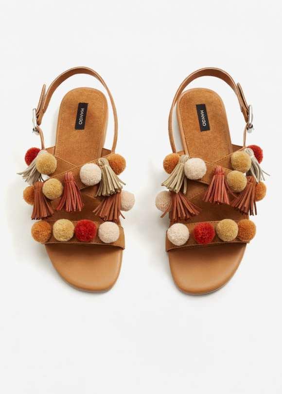 mango pom pom sandals live authenchic