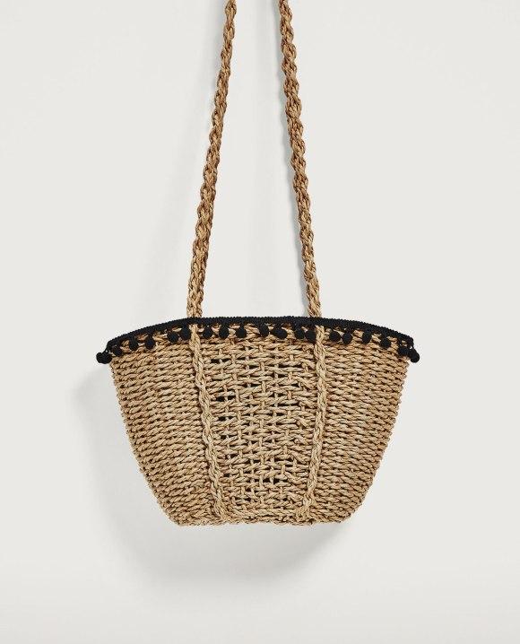 zara pom pom basket handbag live authenchic chantal boyajian